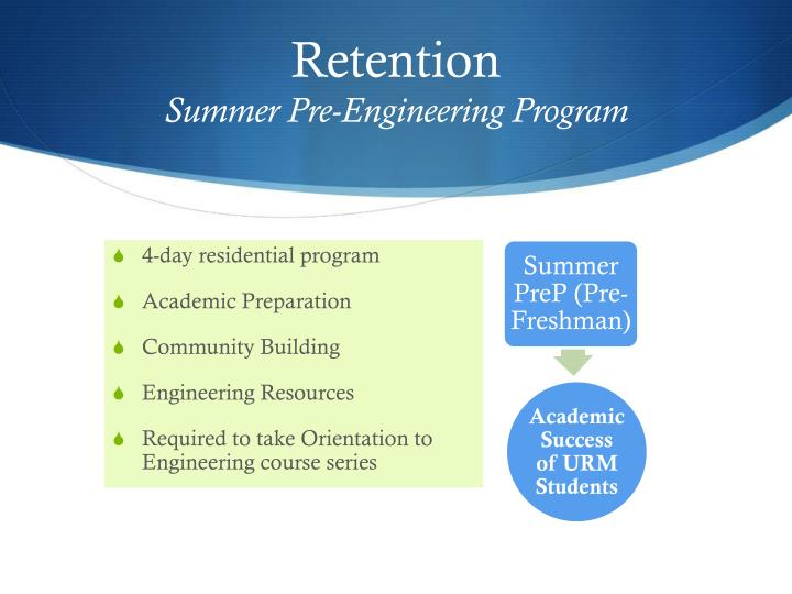 Retention summer pre engineering program