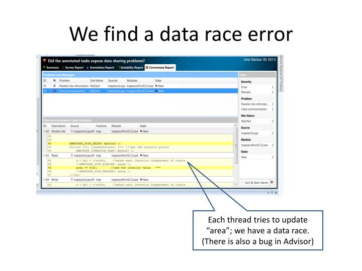 We find a data race error