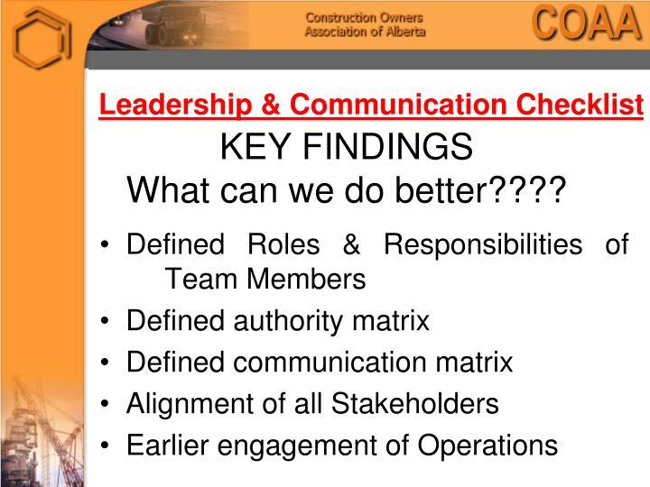 Leadership & Communication Checklist