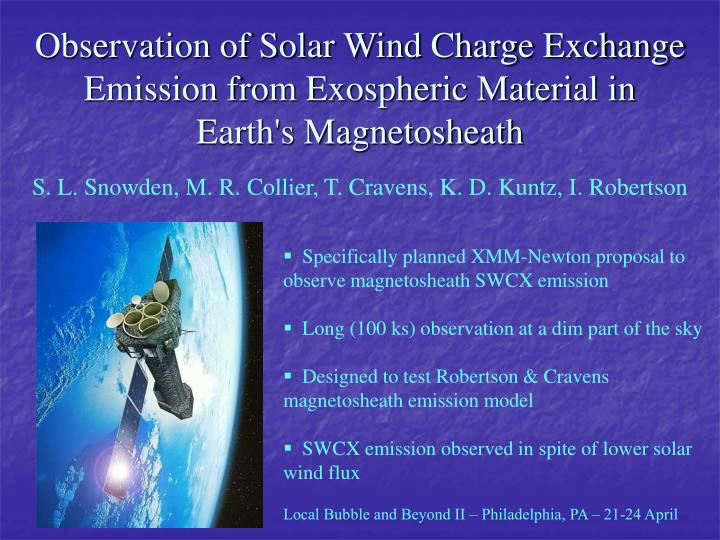 Observation of Solar Wind Charge Exchange Emission from Exospheric Material in Earth