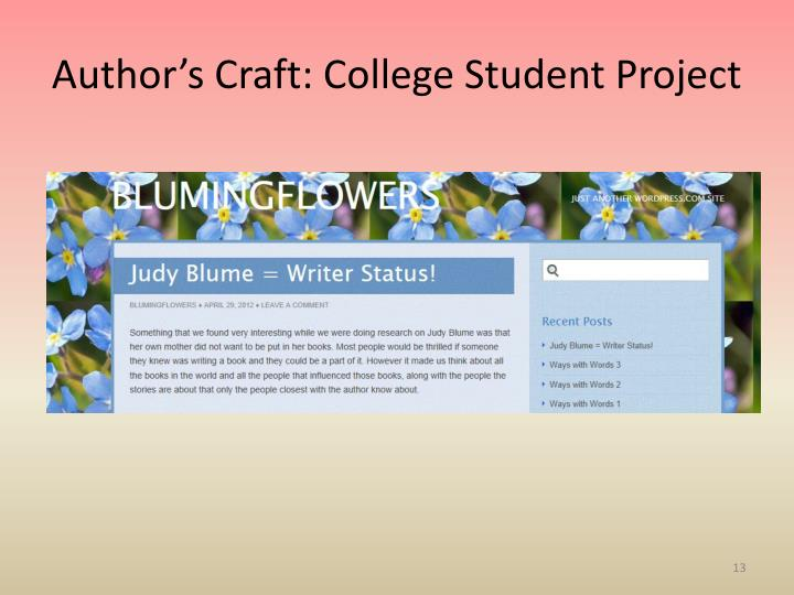 Author's Craft: College Student Project