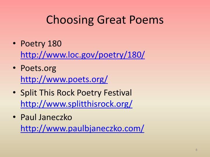 Choosing Great Poems