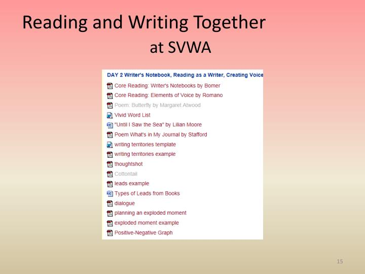 Reading and Writing Together
