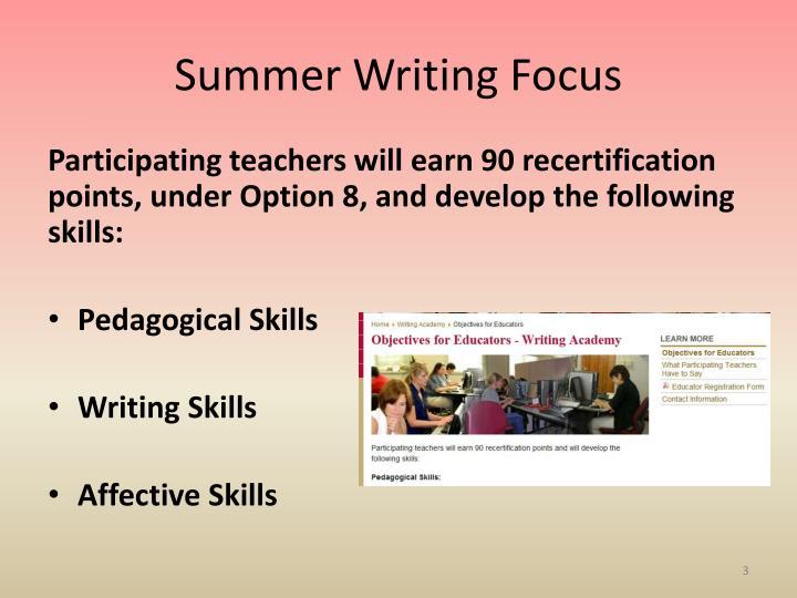 Summer Writing Focus