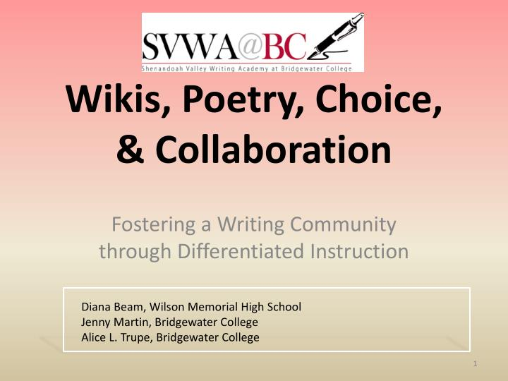 Wikis poetry choice collaboration