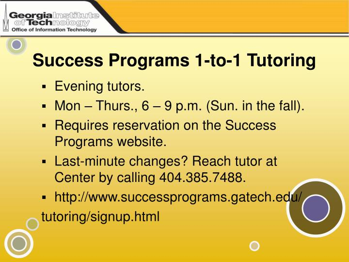 Success Programs 1-to-1 Tutoring