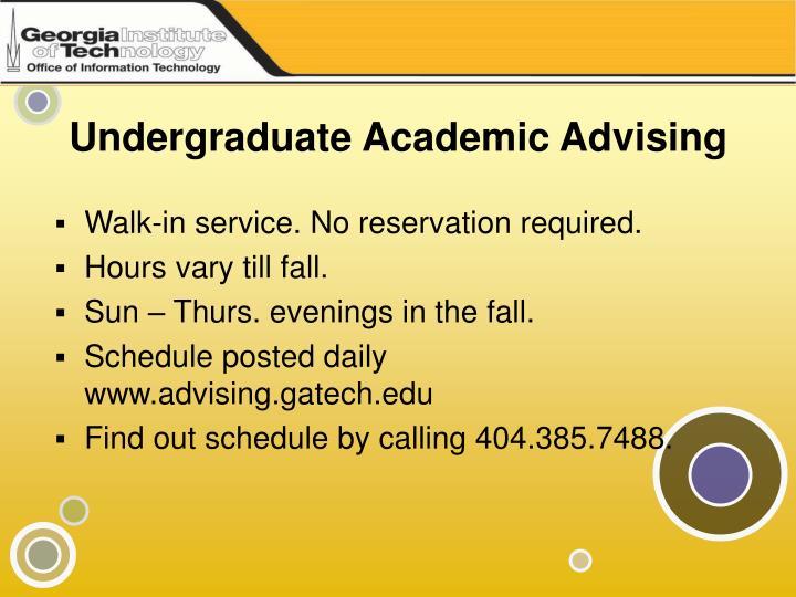 Undergraduate Academic Advising