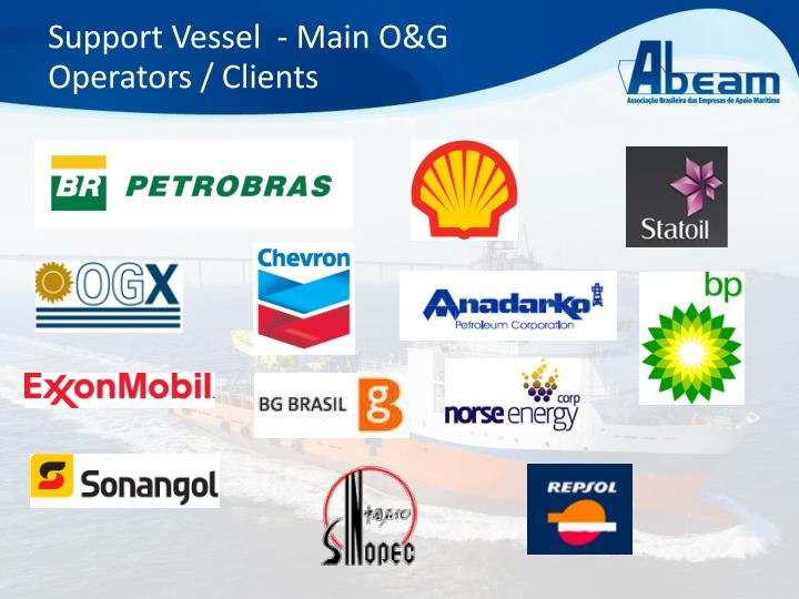 Support Vessel  - Main O&G Operators / Clients