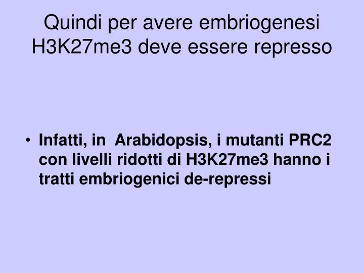 Quindi per avere embriogenesi H3K27me3 deve essere represso