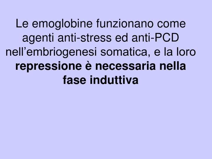 Le emoglobine funzionano come agenti anti-stress ed anti-PCD nell'embriogenesi somatica, e la loro