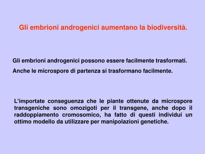 Gli embrioni androgenici aumentano la biodiversità.