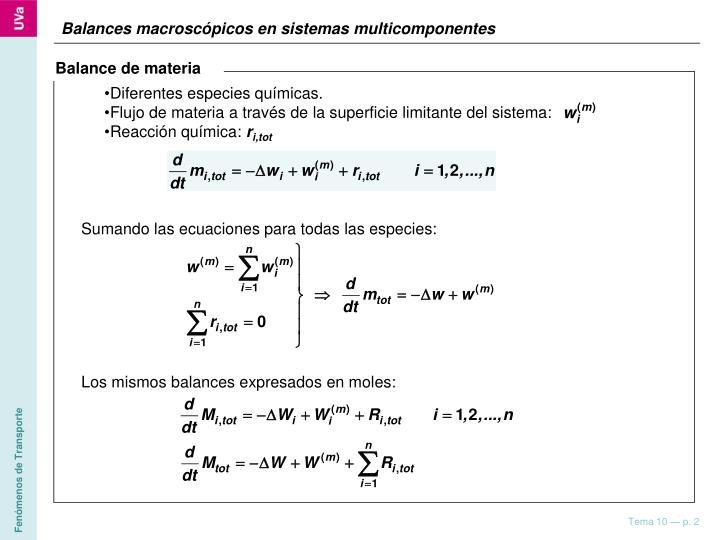 Diferentes especies químicas.