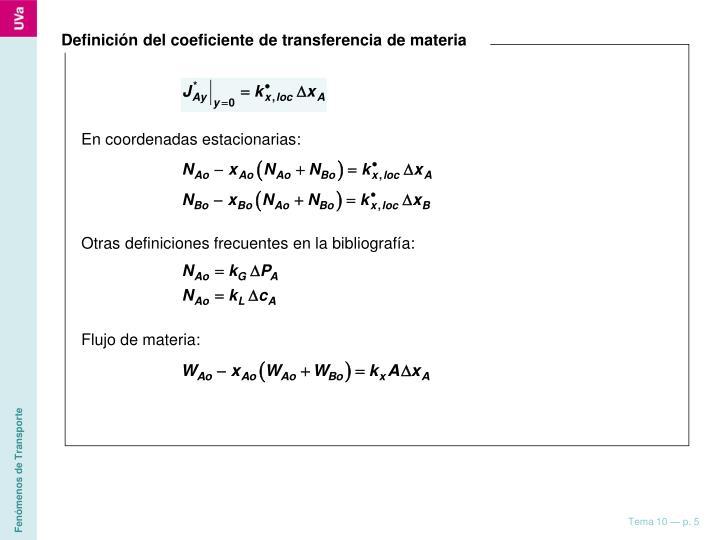 Definición del coeficiente de transferencia de materia