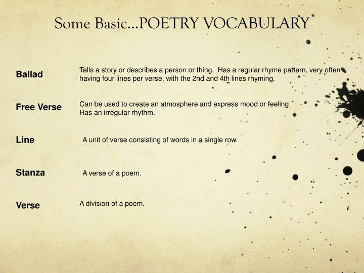 Some Basic…POETRY VOCABULARY