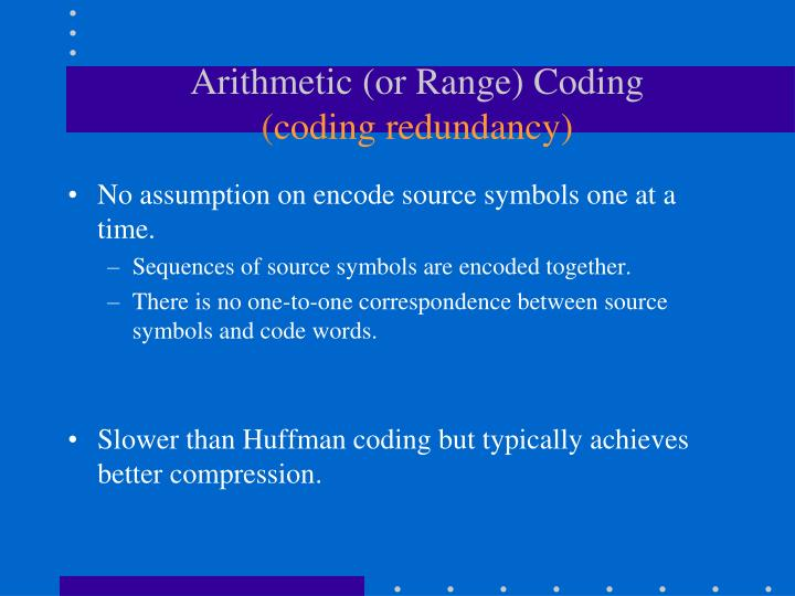 Arithmetic (or Range) Coding