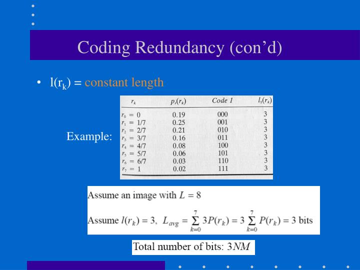 Coding Redundancy (con'd)