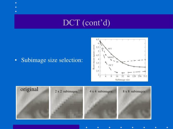 DCT (cont'd)