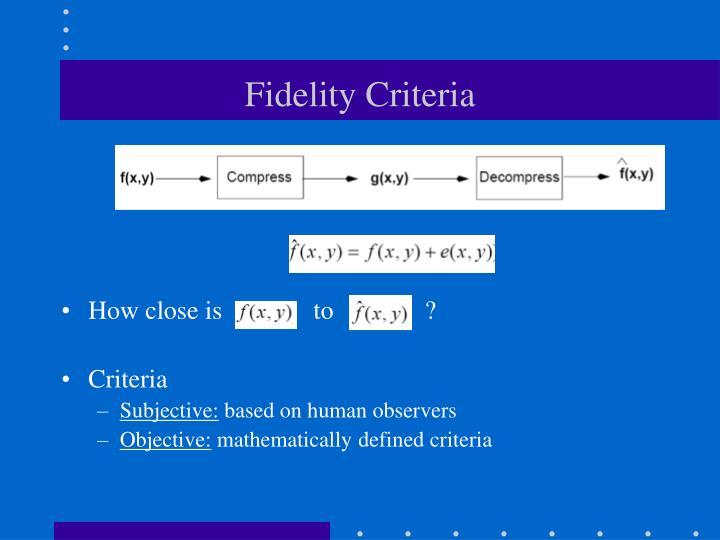 Fidelity Criteria