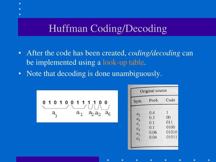 Huffman Coding/Decoding