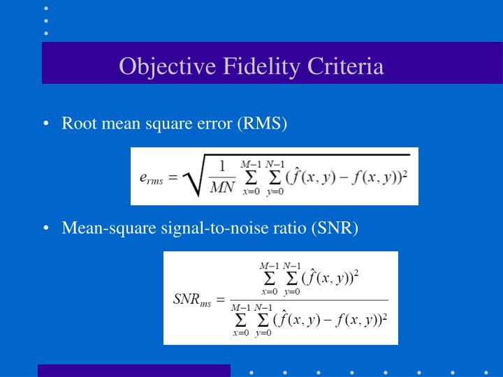 Objective Fidelity Criteria