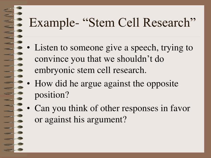 embryonic stem cells essay example Here are two topic ideas for stem cell research paper along with some suggested thesis statement to help you in crafting a grade  any essay type or topic.
