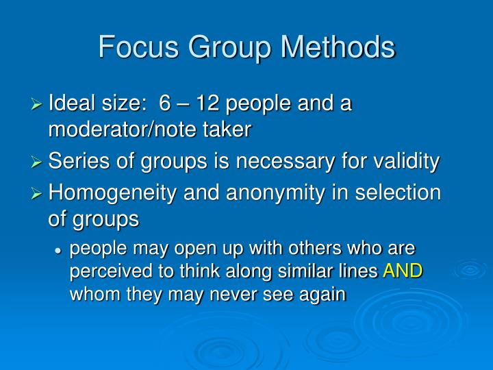 Focus Group Methods