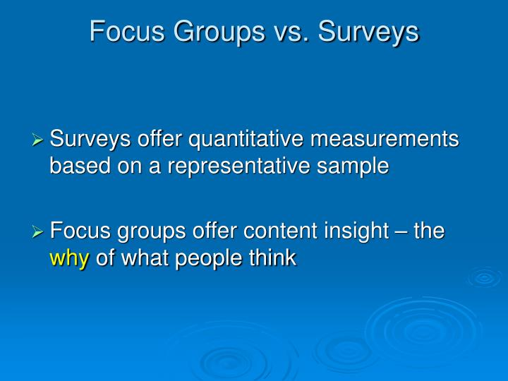 Focus Groups vs. Surveys