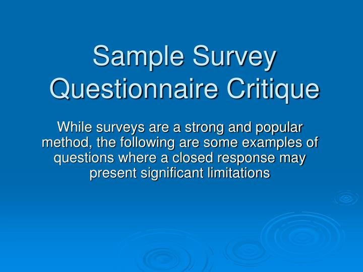 Sample Survey Questionnaire Critique