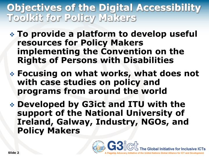 Objectives of the digital accessibility toolkit for policy makers