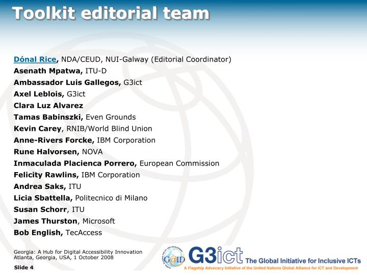 Toolkit editorial team