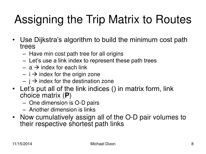 Assigning the Trip Matrix to Routes