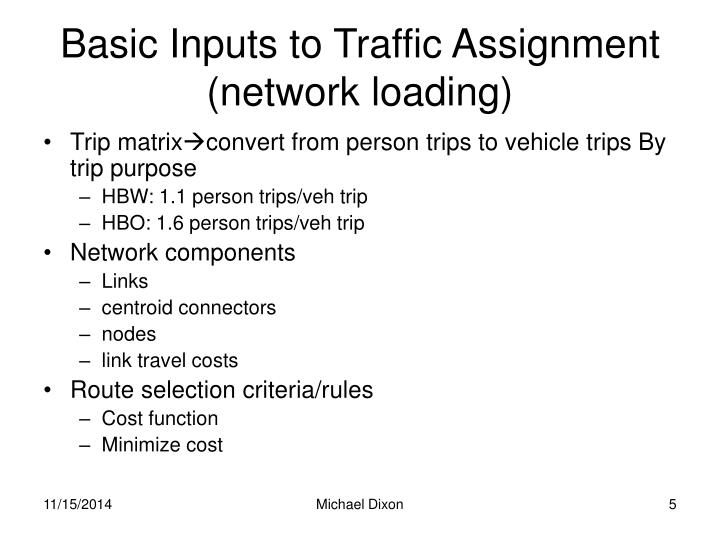 Basic Inputs to Traffic Assignment (network loading)