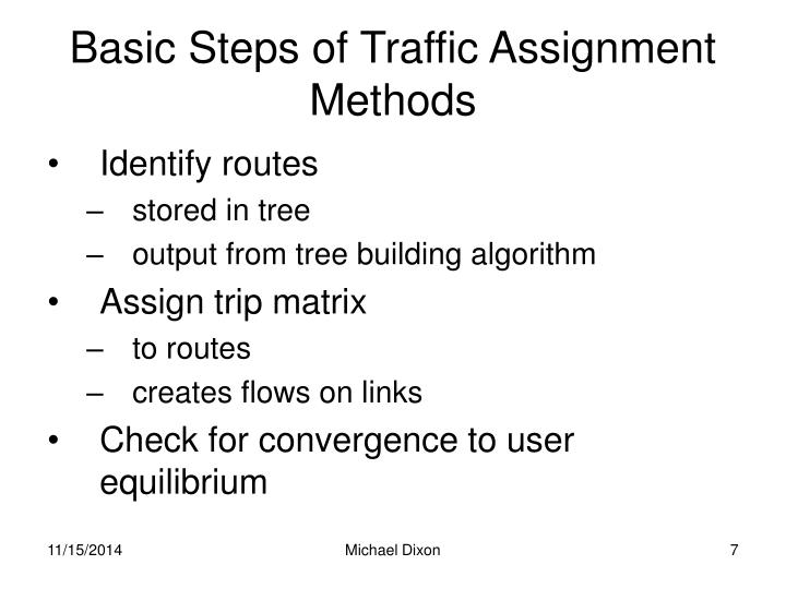 Basic Steps of Traffic Assignment Methods