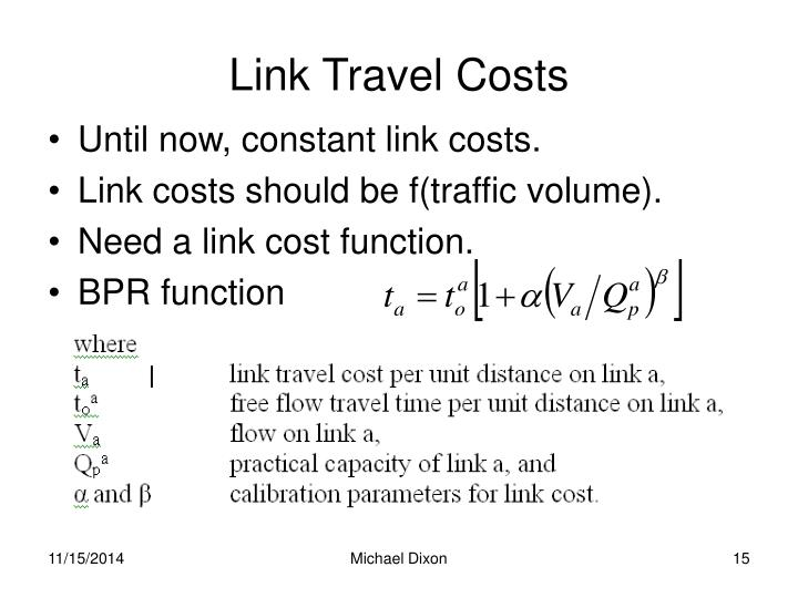 Link Travel Costs