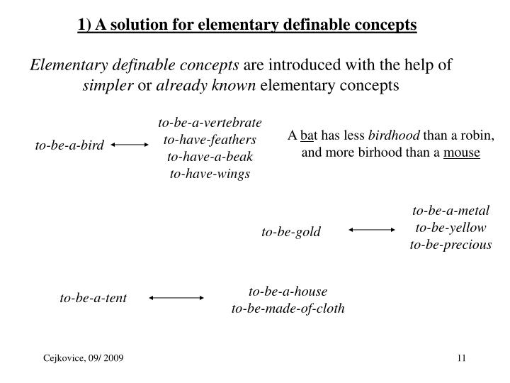 1) A solution for elementary definable concepts