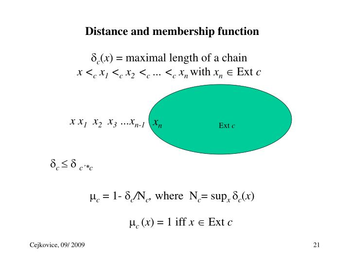 Distance and membership function