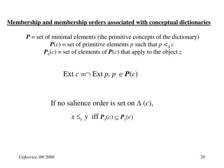 Membership and membership orders associated with conceptual dictionaries
