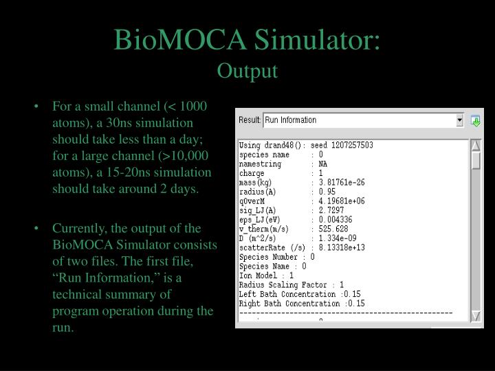 BioMOCA Simulator: