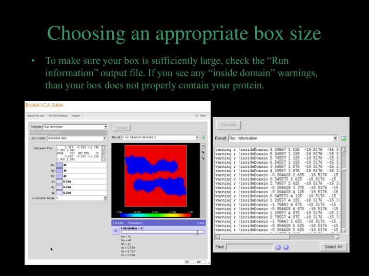 Choosing an appropriate box size