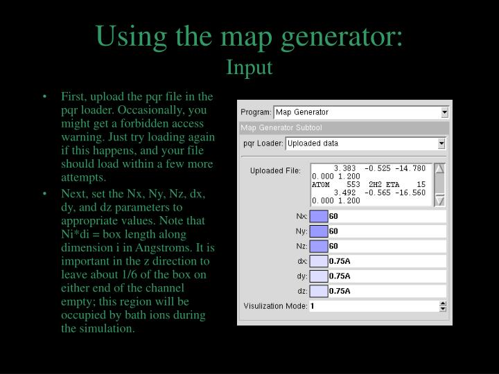 Using the map generator: