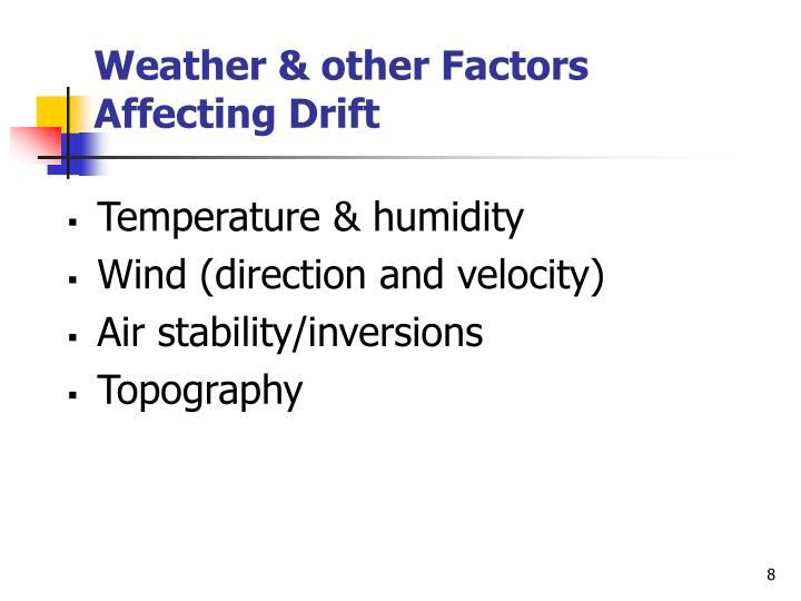 Weather & other Factors Affecting Drift
