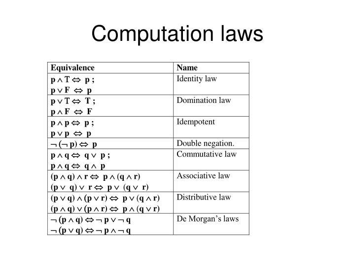 Computation laws