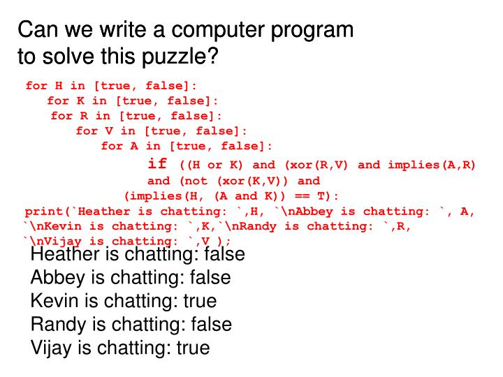 Can we write a computer program