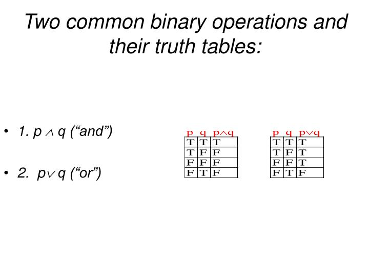 Two common binary operations and their truth tables: