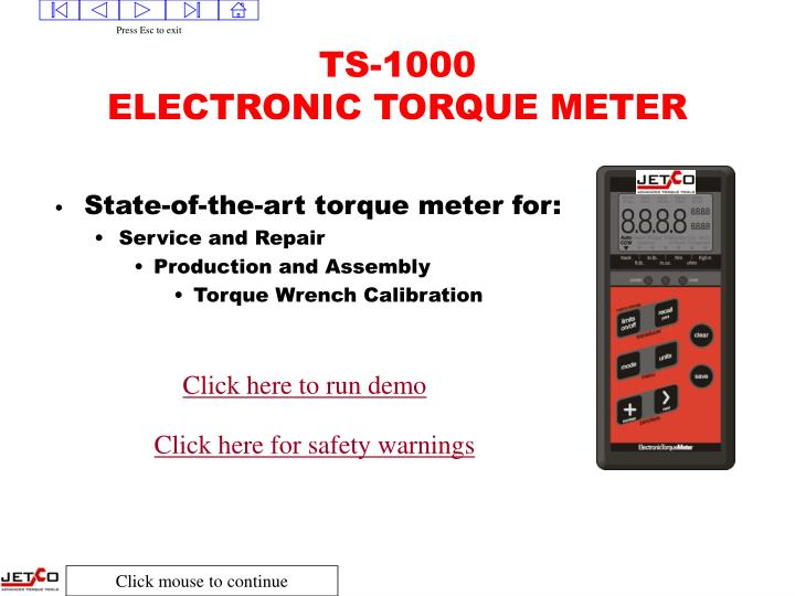 Ts 1000 electronic torque meter