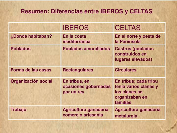 Resumen: Diferencias entre IBEROS y CELTAS