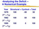 analyzing the deficit a numerical example