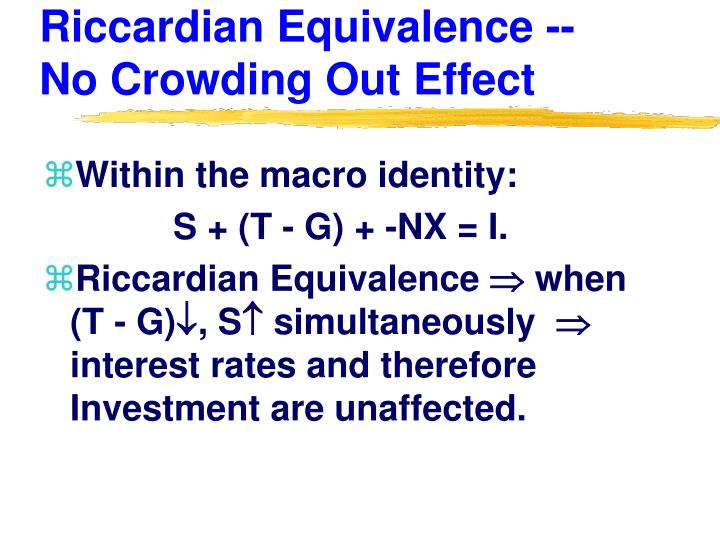 Riccardian Equivalence -- No Crowding Out Effect