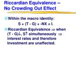 riccardian equivalence no crowding out effect