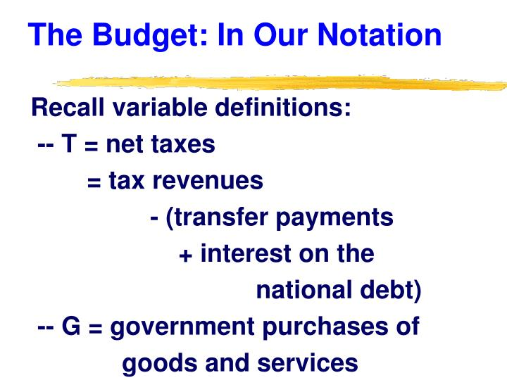 The Budget: In Our Notation